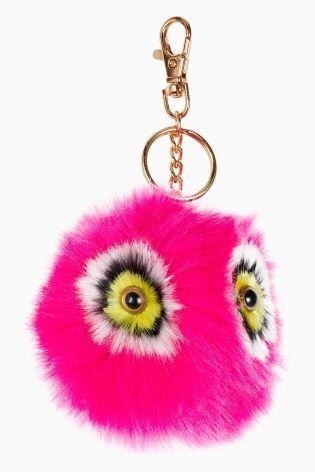 Pink Faux Fur Owl Pom Keyring