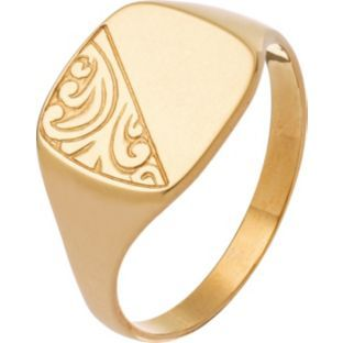 Buy 9ct Gold Embossed Cushion Signet Ring at Argos.co.uk - Your Online Shop for Men's fashion rings.