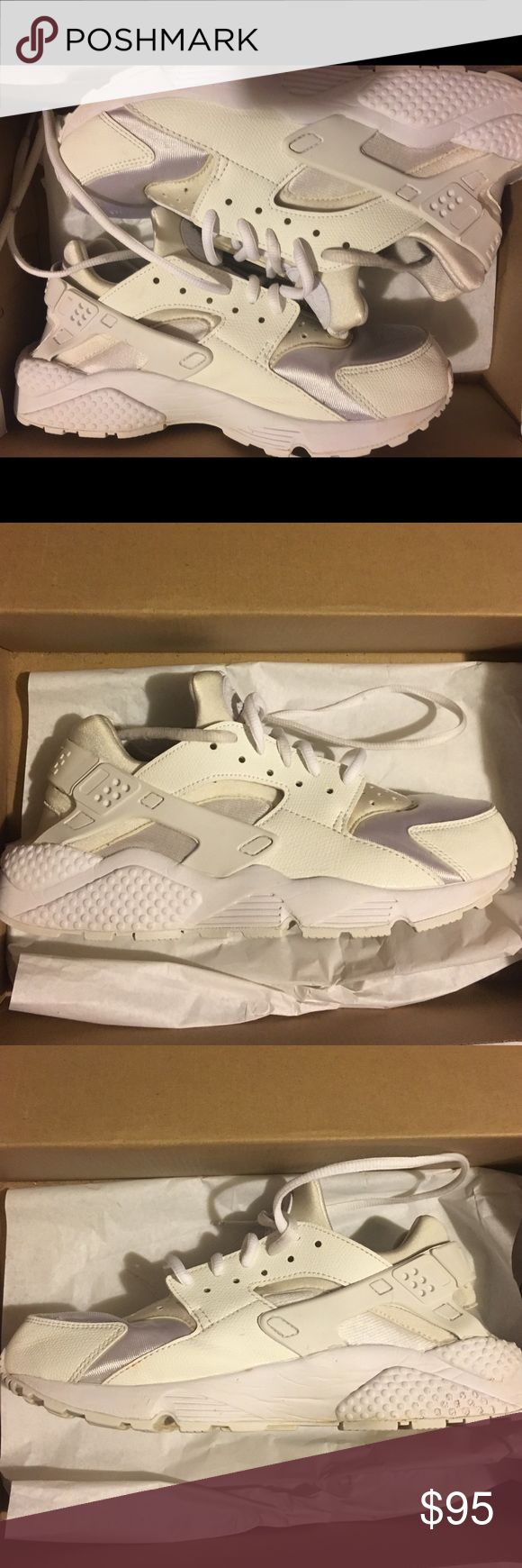 Women's Triple white Huarache Runs Like New missing one sole.                               This size runs small the size is a 9 but will fit a 8 in womens Nike Shoes Sneakers