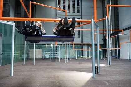 Playfully subversive artists SUPERFLEX have filled Tate Modern's Turbine Hall withswings