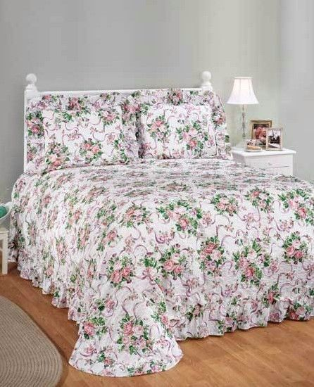 Plisse Victorian Pink Rose Ribbon Flower Floral Ruffled Bedspread Bed Cover #Unbranded
