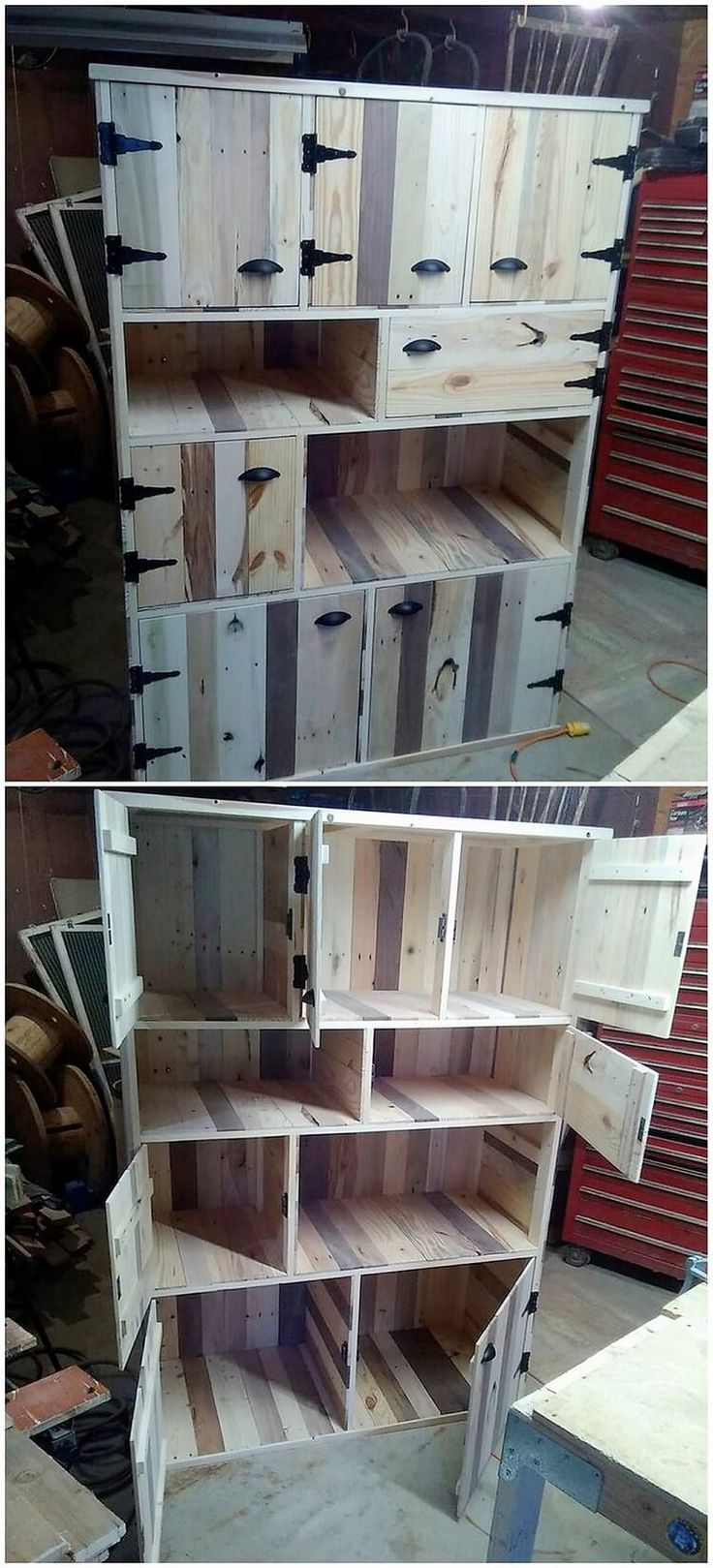 best 25 pallet hutch ideas on pinterest diy exterior led lighting how to stain pallet. Black Bedroom Furniture Sets. Home Design Ideas