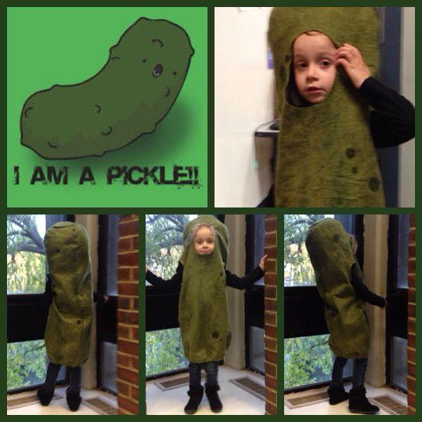 "Pickle Costume: Handpainted Wool Felt with Needle Felted Wool ""Spots""  Halloween Costume Pickle Pickles Handmade"