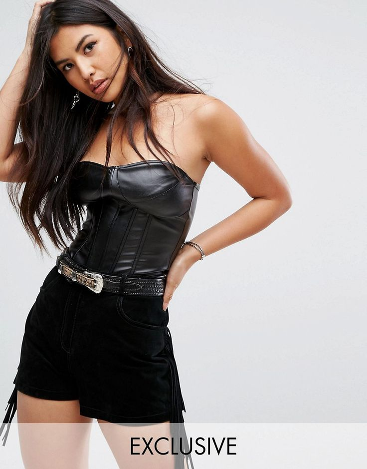 Buy it now. Missguided Bandeau Leather Look Corset Top - Black. Top by Missguided, Smooth faux leather, Badeau neck, Boned corset detail, Zip back, Close cut bodycon fit, Machine wash, 100% Polyurethane, Our model wears a UK 8/EU 36/US 4 and is 175cm/5'9 tall, Exclusive to ASOS. With an eye on the catwalks and hottest gals around, Missguided's in-house team design for the dreamers, believers and night lovers. Taking the risks no one else dares to, its bodycon dresses, crop tops and ripped…