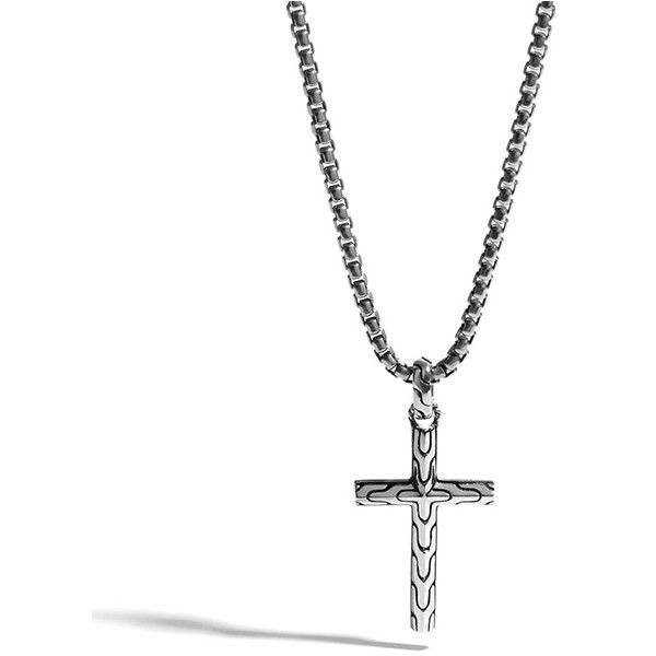 John Hardy Classic Chain Silver Small Cross Pendant on Box Chain... ($350) ❤ liked on Polyvore featuring men's fashion, men's jewelry, men's necklaces, mens box chain necklace, mens silver necklace, mens crucifix necklace, mens cross pendant necklace and mens silver box chain necklace