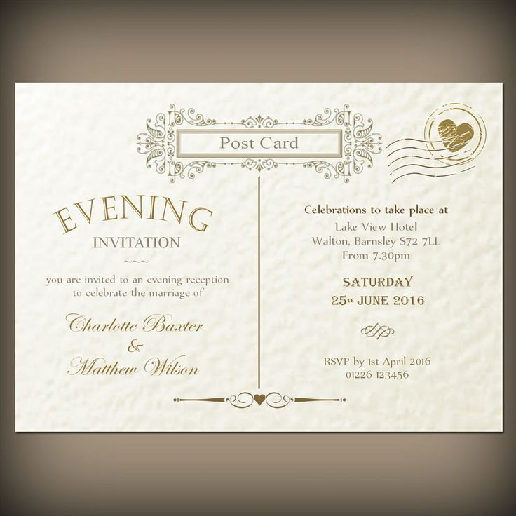 Personalised wedding / evening invitations & envelopes, Vintage Post Card