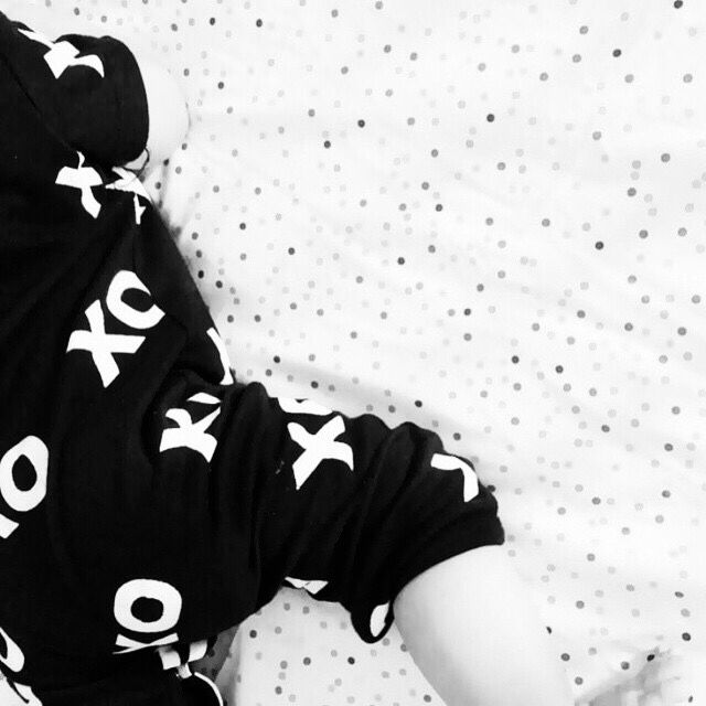 Designer Baby Fashion.  Too cute in black and white! Beautiful image from @youngmumstuff and bubs wears Huxbaby  Blog — Yummy Mummy Pregnancy Day Spa