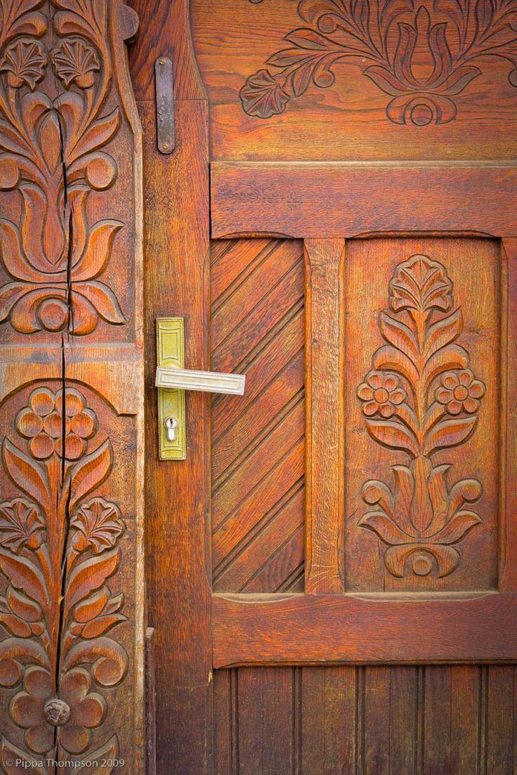 Wooden szekely door, Transylvania, Romania.