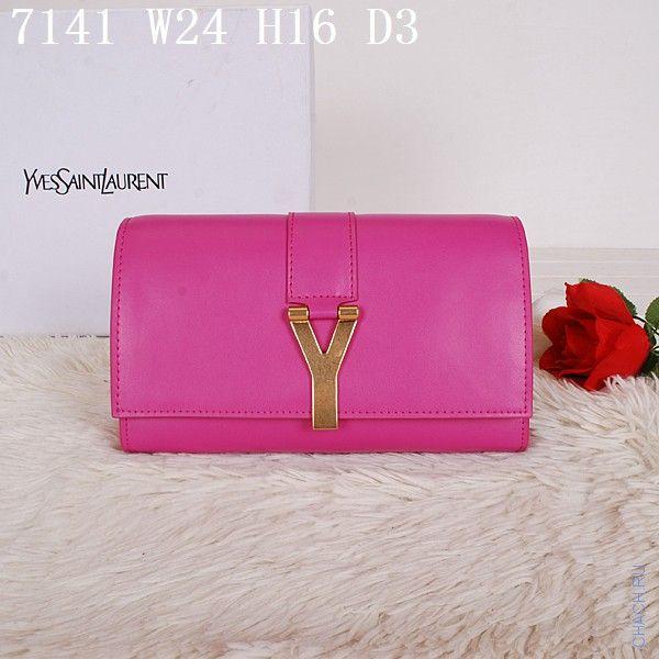 Клатч Yves Saint Laurent розовый кожаный