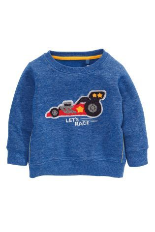 Buy Cobalt Car Appliqué Crew (3mths-6yrs) online today at Next: Hungary