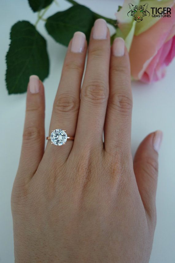 3 carat 9mm Solitaire Engagement Ring, Round Man Made Diamond Simulant, Wedding, Promise Ring, Bridal, Sterling Silver, Rose Gold Plated on Etsy