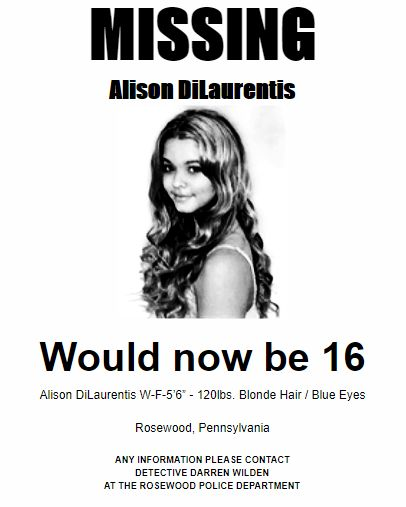 pll, Pretty Little Liars, Ali's missing poster This is a recreation and is my best guess as to what the fonts, sizes, and words were on the original design.