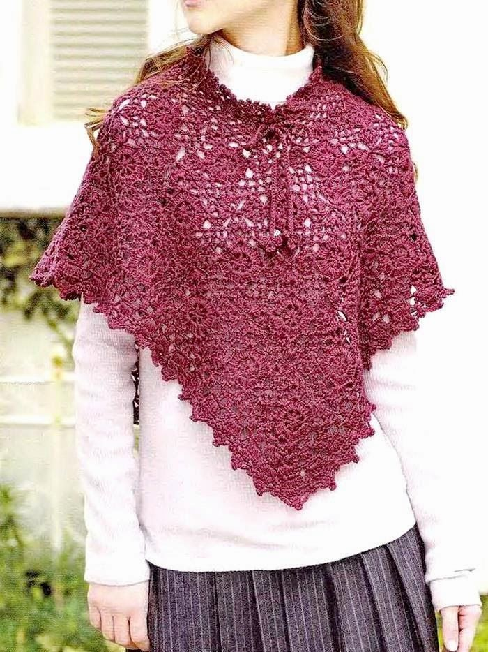 Crochet Scialli: pizzo all'uncinetto Poncho - Gorgeous