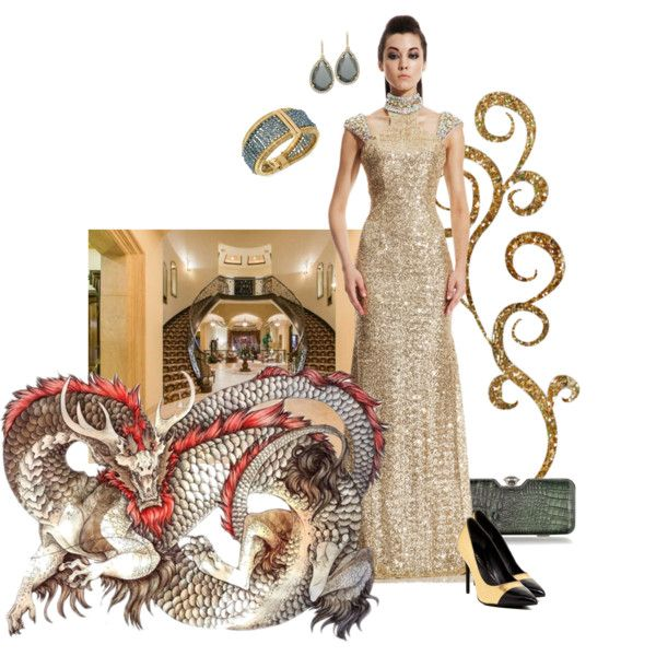 Dragon gold by maria-kuroshchepova on Polyvore featuring Johnathan Kayne, Kenneth Cole, Julia Cocco', ABS by Allen Schwartz, contestentry and yahoostyle