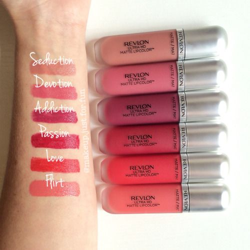 Swatches of my @revlon Ultra HD Matte Lipcolor collection ♥︎ Addiction for True Winter and Love for Bright Winter