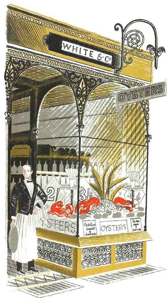 "Eric Ravilious: Oyster Bar from ""High Street"" by J M Richards, 1938 (lithograph) #oysterart"