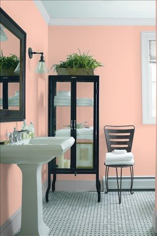 Look at the paint colour combination I created with Benjamin Moore. Via @benjamin_moore. Wall: Coral Buff 024; Trim: Marilyn's Dress 2125-60; Chair: Cheating Heart 1617.