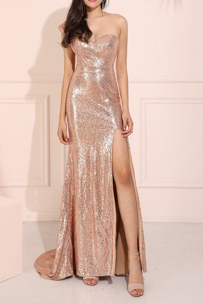 Rose Gold Sequin Prom Bridesmaid Dress | Rose gold prom dress, Gold party dress, Rose gold bridesmaid dress