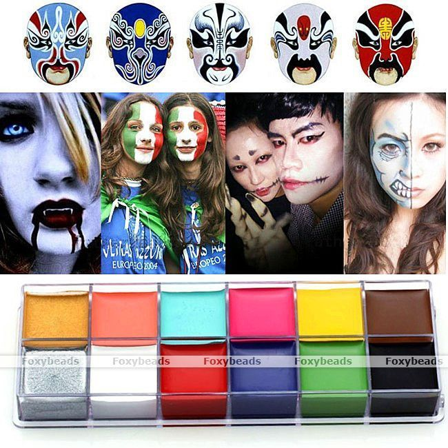 Professional Face Painting Paint 12 Colors Party Make Up Guide Rainbow Kit Set