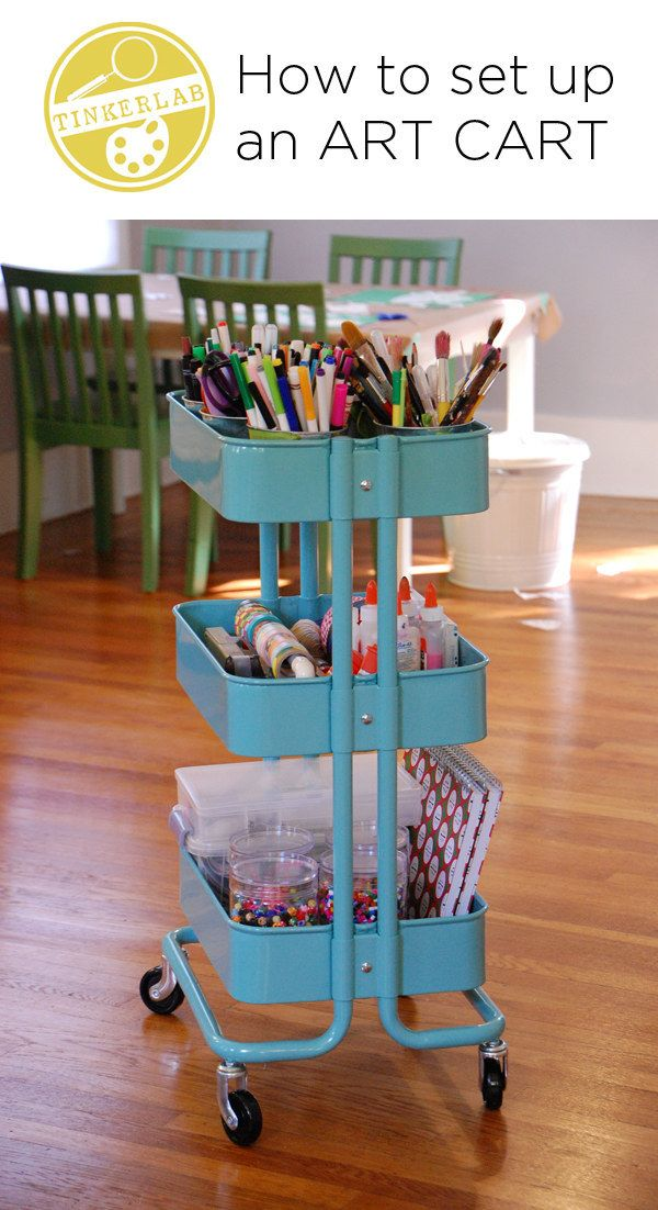 Set up an art cart and wheel your supplies wherever you need them. | 45 Organization Hacks To Transform Your Craft Room