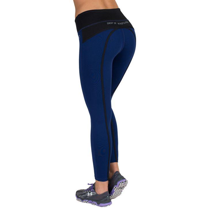 Drop of Mindfulness Bow II Fitness Legging Blue Black Mallas Deportivas Azul Pavo