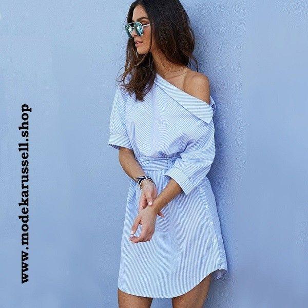 Schulterfreies Sexy Shirtkleid in Blau - Sexy Kleider Online Bestellen