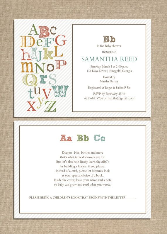 baby shower invitation ABC by pipeup on Etsy. $15.00, via Etsy.
