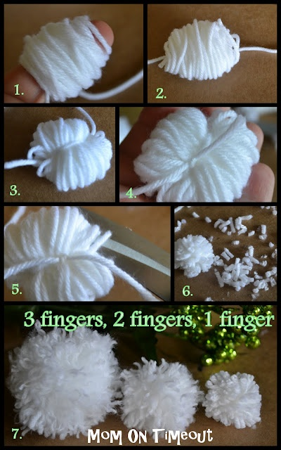 How to make your own little Pom Poms - all you need is yarn, a finger or four, and scissors.