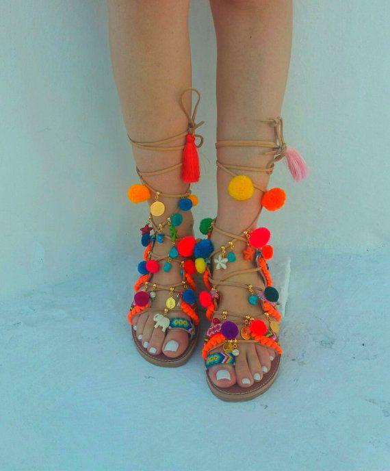 FREE SHIPPING Pom pom Sandals Gladiator Sandals boho