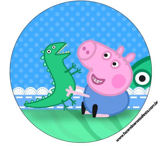 Rótulo Latinha, Gelatina e Bandeirinha para Cupcakes Geoge Pig e Dinossauro: