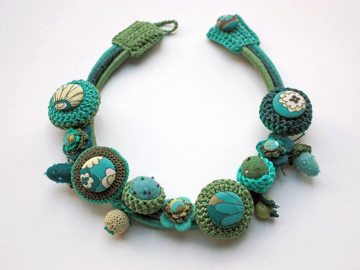 Turquoise green handmade necklace. $198.00, via Etsy.