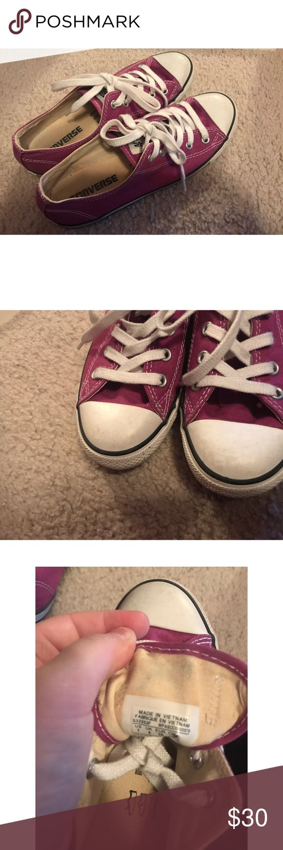 Fuscia Low Rise Converse All Star Fuscia (Purple) Low-Rise Converse All Star Sneakers in size 7. True to size and in excellent condition! While they have been worn they're in great condition with very few minor flaws: one being a blue-ish mark on the inner side of the tongue on the right shoe, some light scuffs on the white part which I'm sure can be cleaned if preferred, and some light signs of use inside. The only other thing is that there is a dot on one side of the canvas on one of the…