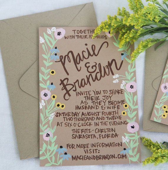 Hand Painted Wedding Invitations - Rustic Wildflowers - Customizable. $380.00, via Etsy.