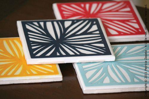 DIY coasters, would make nice hostess gift or housewarming gift.