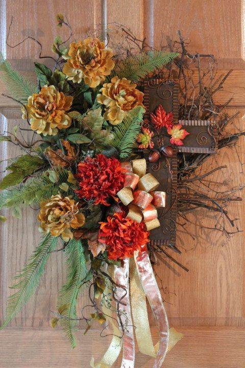 Beautiful fall wreaths for front door autumn cross front Fall autumn door wreaths