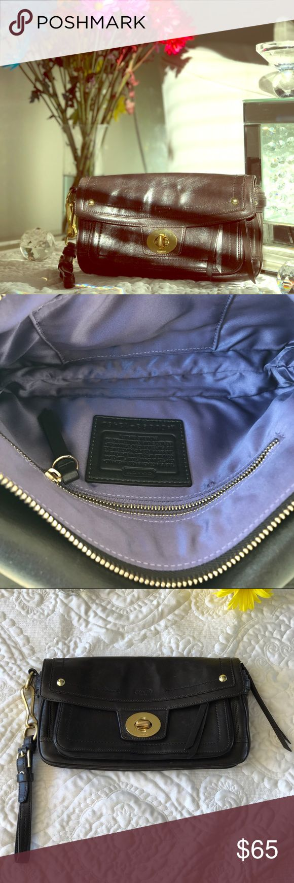 Coach Legacy Hampton Leather Clutch Style: 12450. Dark Brown Clutch Bag with pastel purple interior. Clutch has minor wear and tear signs, including minor wear and tear on clutch hardware. Also, very small burn mark inside first/smallest compartment  (as shown in last photo). Coach Bags Clutches & Wristlets