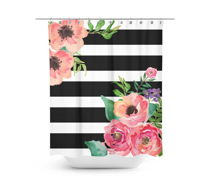 Black white stripes floral shower curtain beautiful for Black and white striped bathroom accessories
