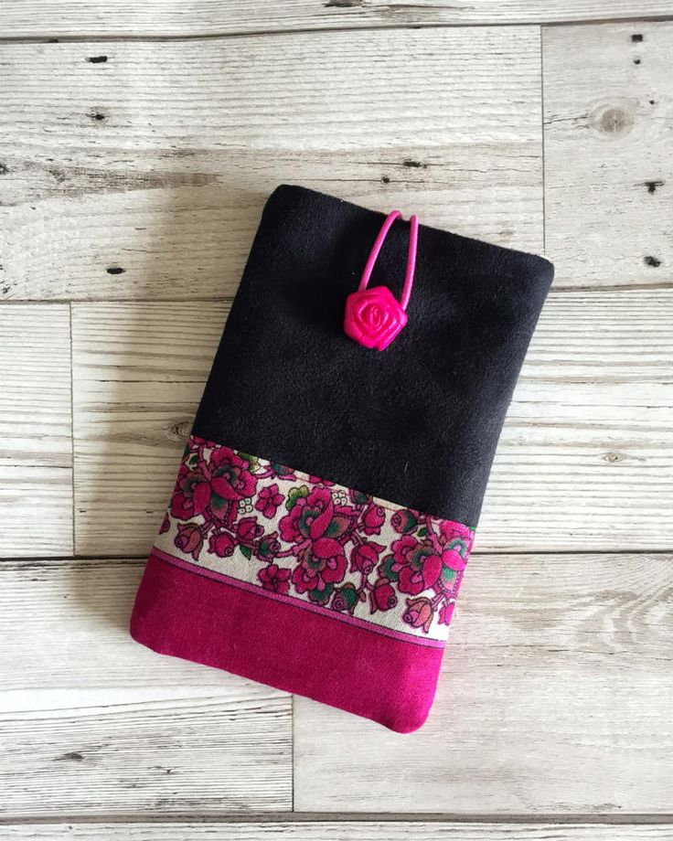 Black Faux Suede, Mobile Phone Case, Mobile Phone cover, Iphone Case, Samsung Case,  Black Faux Suede & Pink Flower Cell Phone Case by RetroChicCrafts on Etsy