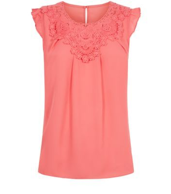 Tokyo Doll Coral Crochet Neck Frill Sleeve Top