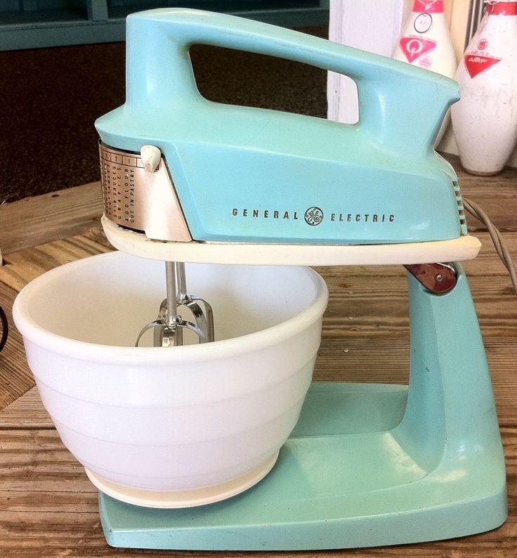 Lost & Found ~ Marblehead, MA: 1950's Beautiful Aqua General Electric Mixer/Hand Mixer. SOLD!