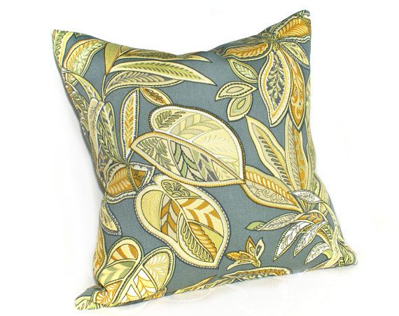 Yellow Grey Patio Pillows, Summer Outside Cushion Covers, Abstract Leaves, Decorative Throw Pillows, Beach House Decor, 18x18 #EasyNip repinned by @wickerparadise