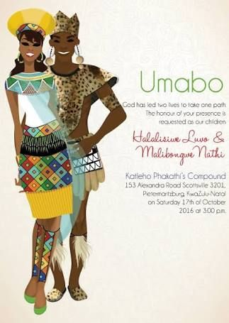 traditional zulu wedding invite - Google Search
