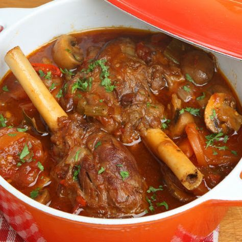 Tender Slow Cooker Mushroom Lamb Shanks
