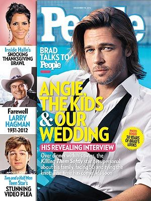 ON NEWSSTANDS 12/30/12: Brad Pitt talks about fatherhood—and his upcoming wedding to Angelina Jolie. Plus: Farewell Larry Hagman, Halle's shocking Thanksgiving brawl and more