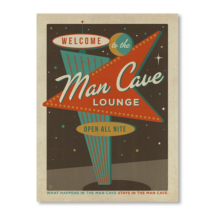 Vegas Man Cave Sign - Art Print by For The Boys Room on POP.COM.AU