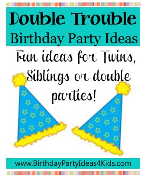 Double Trouble birthday party theme ... fun and easy ideas! Great for twins, siblings or double birthday parties! http://www.birthdaypartyideas4kids.com/double-trouble.htm