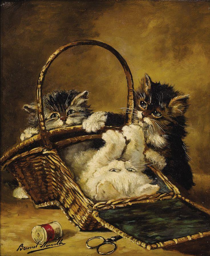 ALFRED ARTHUR BRUNEL DE NEUVILLE: Cat Art, Cat Painting, Vintage Cat, Vintage Image