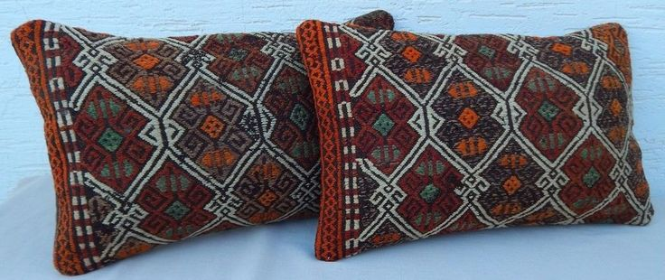12x20'' Vintage Turkish Handmade SET of 2 Pastel Pale Kilim Lumbar Pillow Covers #Handmade #Country