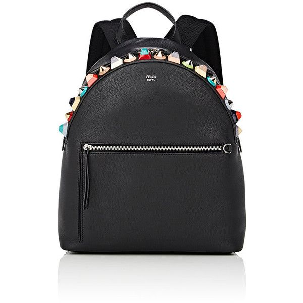 Fendi Women's Embellished Backpack featuring polyvore, women's fashion, bags, backpacks, black, fendi backpack, flat bags, day pack backpack, embellished bag and padded bag