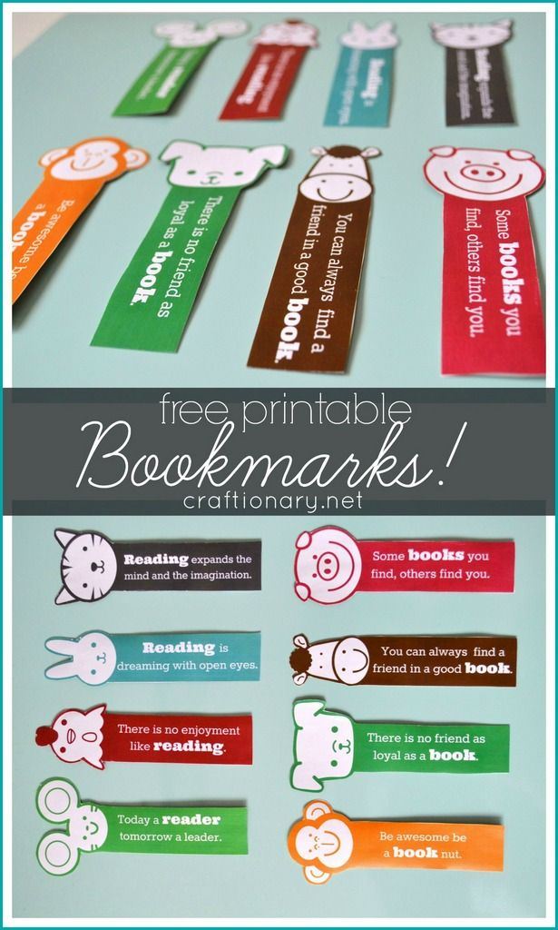 Free printable bookmarks for kids. Make great gifts with books too.